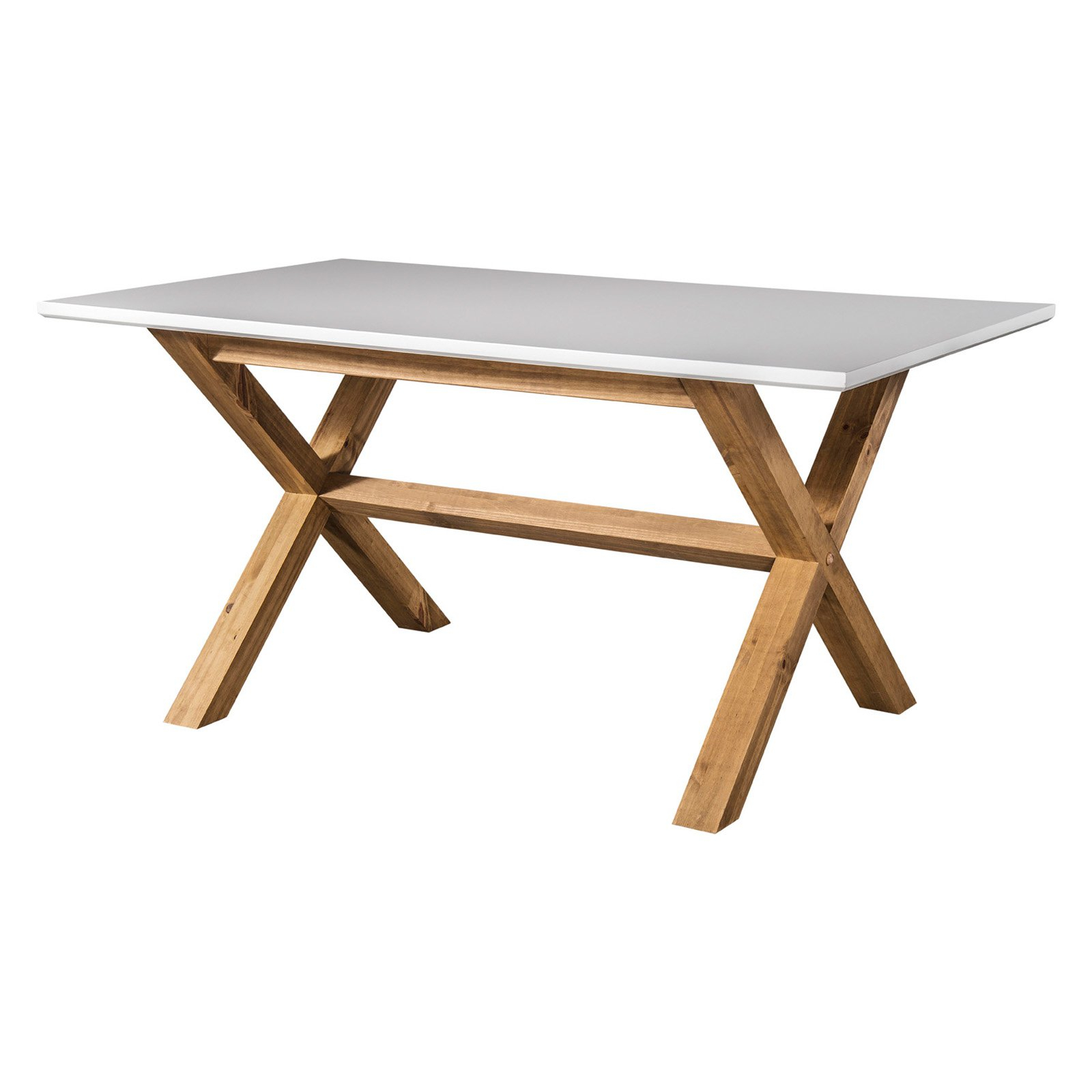 Rustic Mid Century Modern Barclay 6 Seating Dining Table In White And Natural Wood – Walmart With Regard To Best And Newest Rustic Mid Century Modern 6 Seating Dining Tables In White And Natural Wood (View 5 of 30)