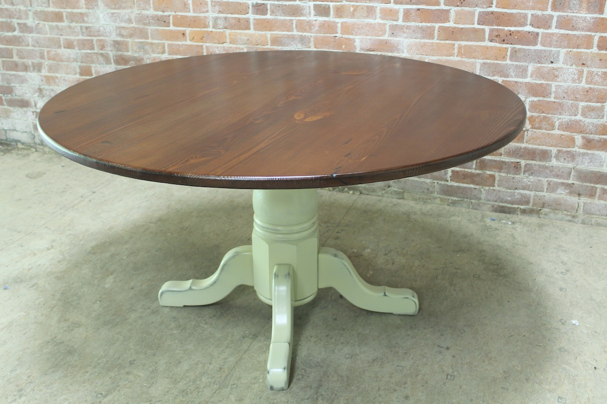"""Rustic Pine Small Dining Tables Pertaining To Well Liked 54"""" Round Rustic Farm Table – Ecustomfinishes (View 26 of 30)"""