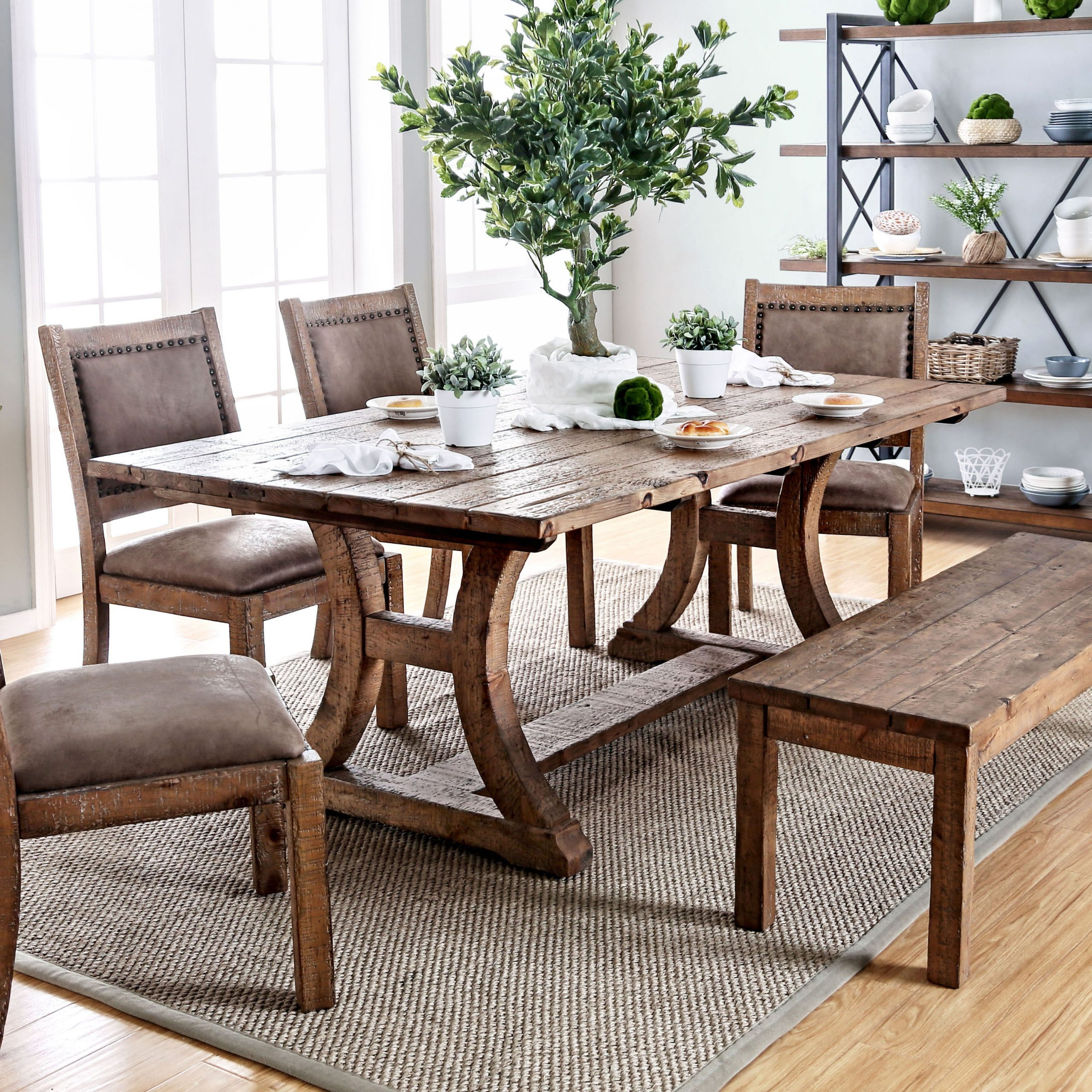 Rustic Pine Small Dining Tables With Regard To Famous Furniture Of America Sail Industrial Pine Solid Wood Dining Table (View 12 of 30)