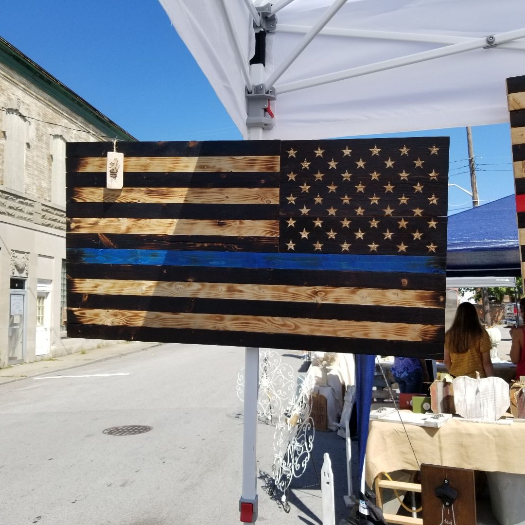 Rustic Thin Blue Line American Flag (View 28 of 30)