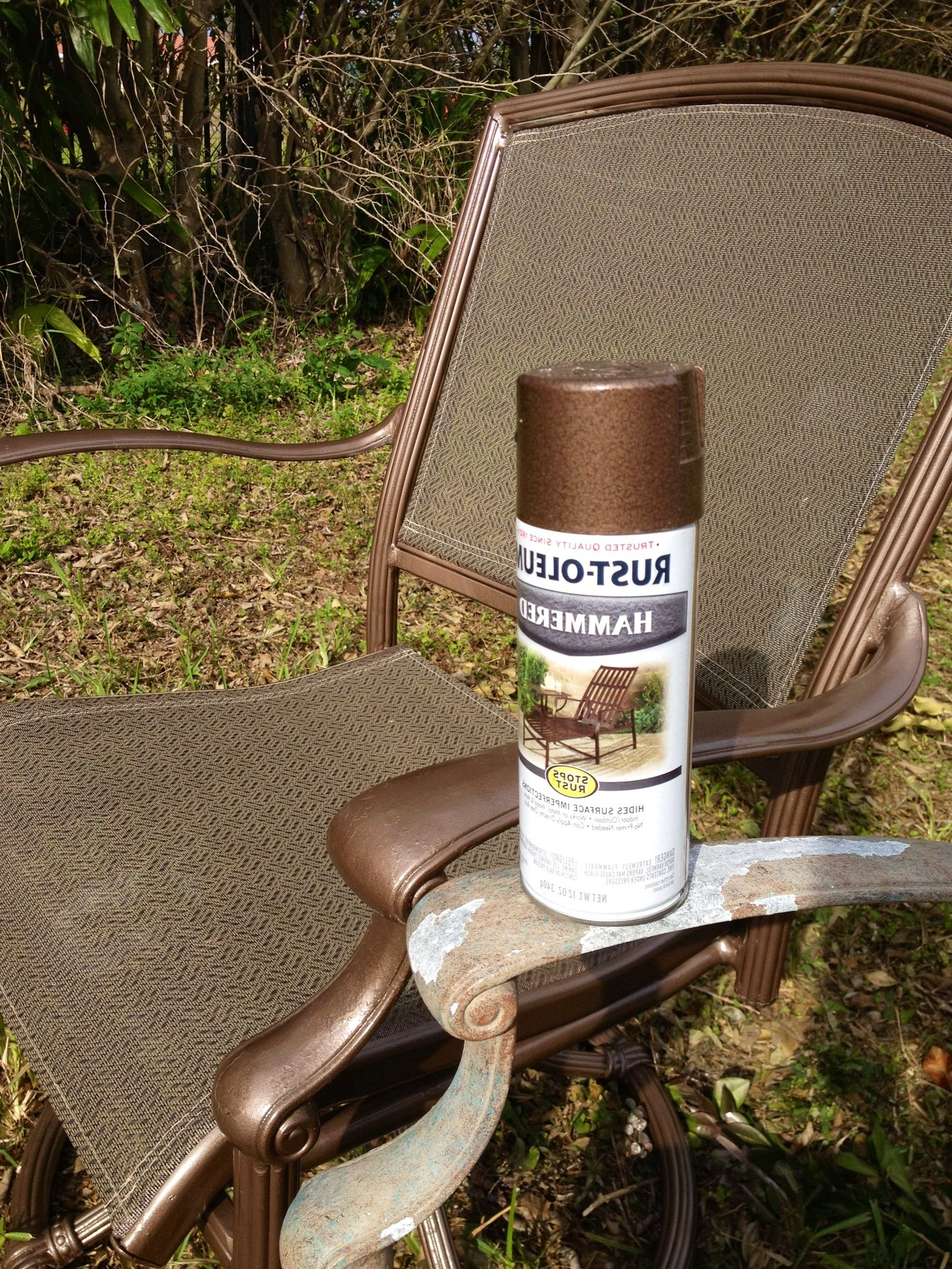 Rustoleum Hammered Metallic Spray Paint For My Upcycled Within Most Up To Date 2 Person Hammered Bronze Iron Outdoor Swings (View 24 of 30)