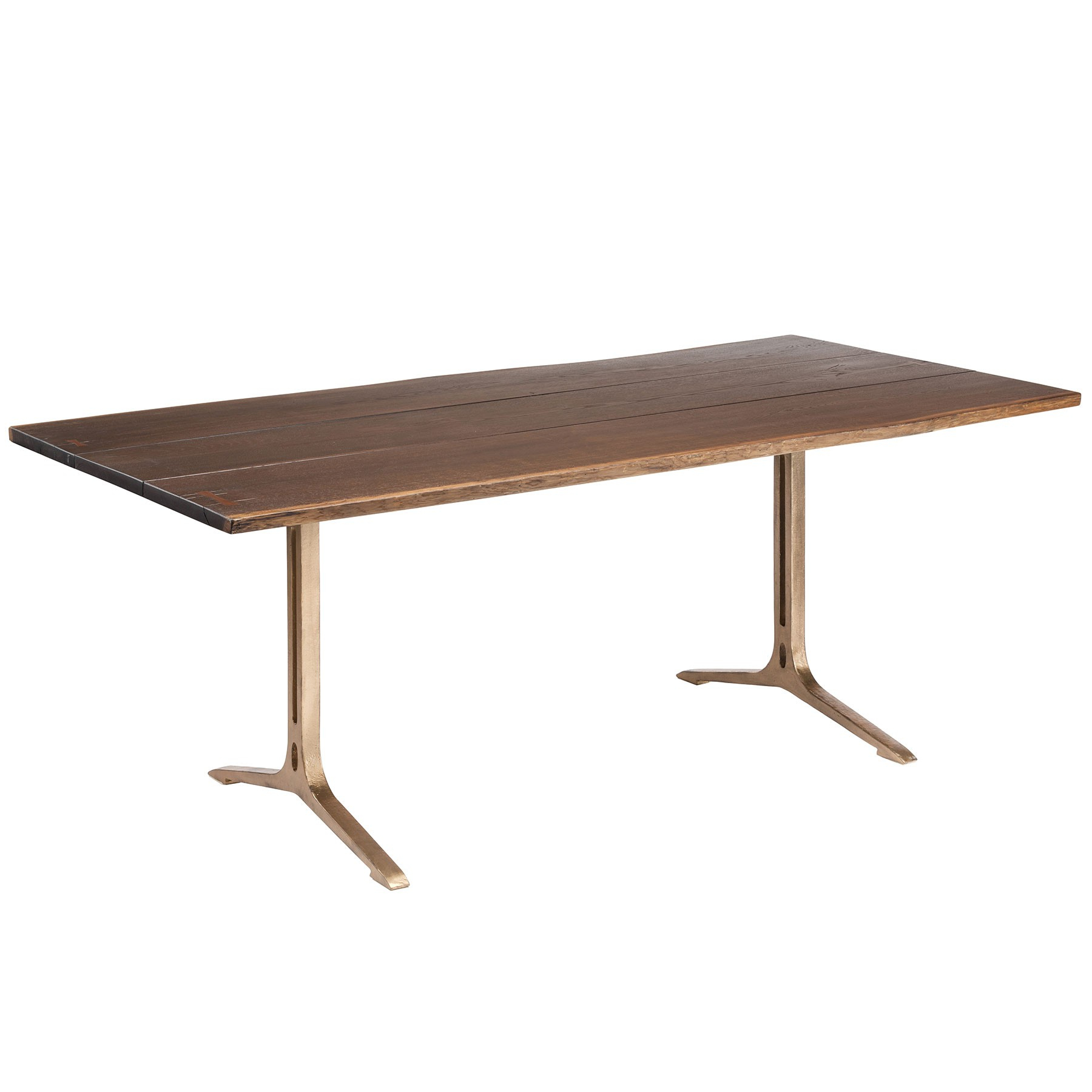 Samara Dining Table – Seared Oak / Bronze Within Most Recent Dining Tables In Smoked Seared Oak (View 2 of 30)