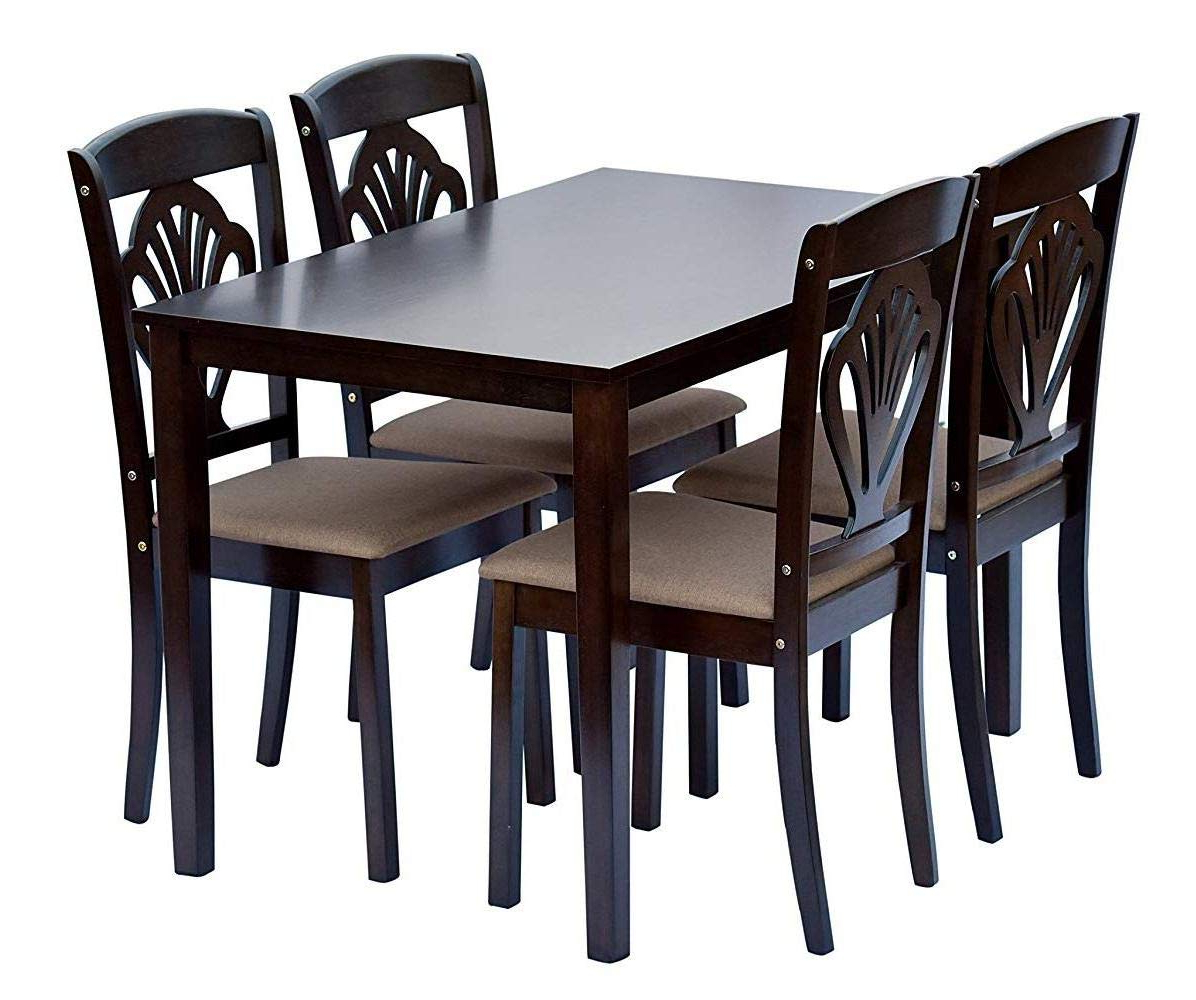 Shilpi Handcrafted Wooden Leaf Design Decor Chairs Back In Latest Contemporary 4 Seating Oblong Dining Tables (View 14 of 30)