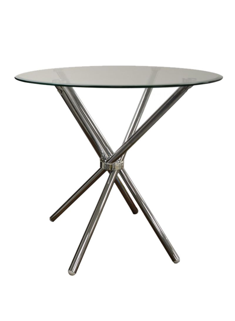 Shop Generic Lotus Round Glass Dining Table Chrome/clear Pertaining To Widely Used Chrome Dining Tables With Tempered Glass (View 19 of 30)