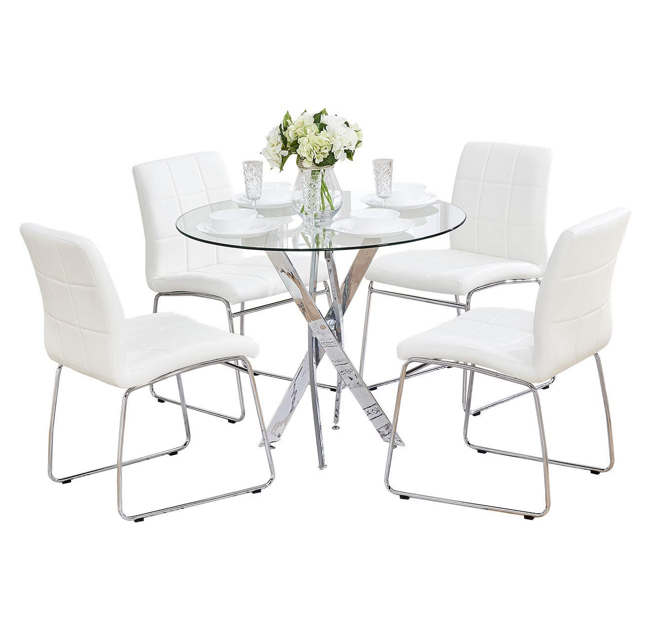 Sicotas 5 Pcs Round Dining Table Set,tempered Glass Kitchen Table And 4 Faux Leather Chairs With Chrome Legs, Modern Dining Room Table Set For Kitchen With Widely Used 4 Seater Round Wooden Dining Tables With Chrome Legs (View 25 of 30)