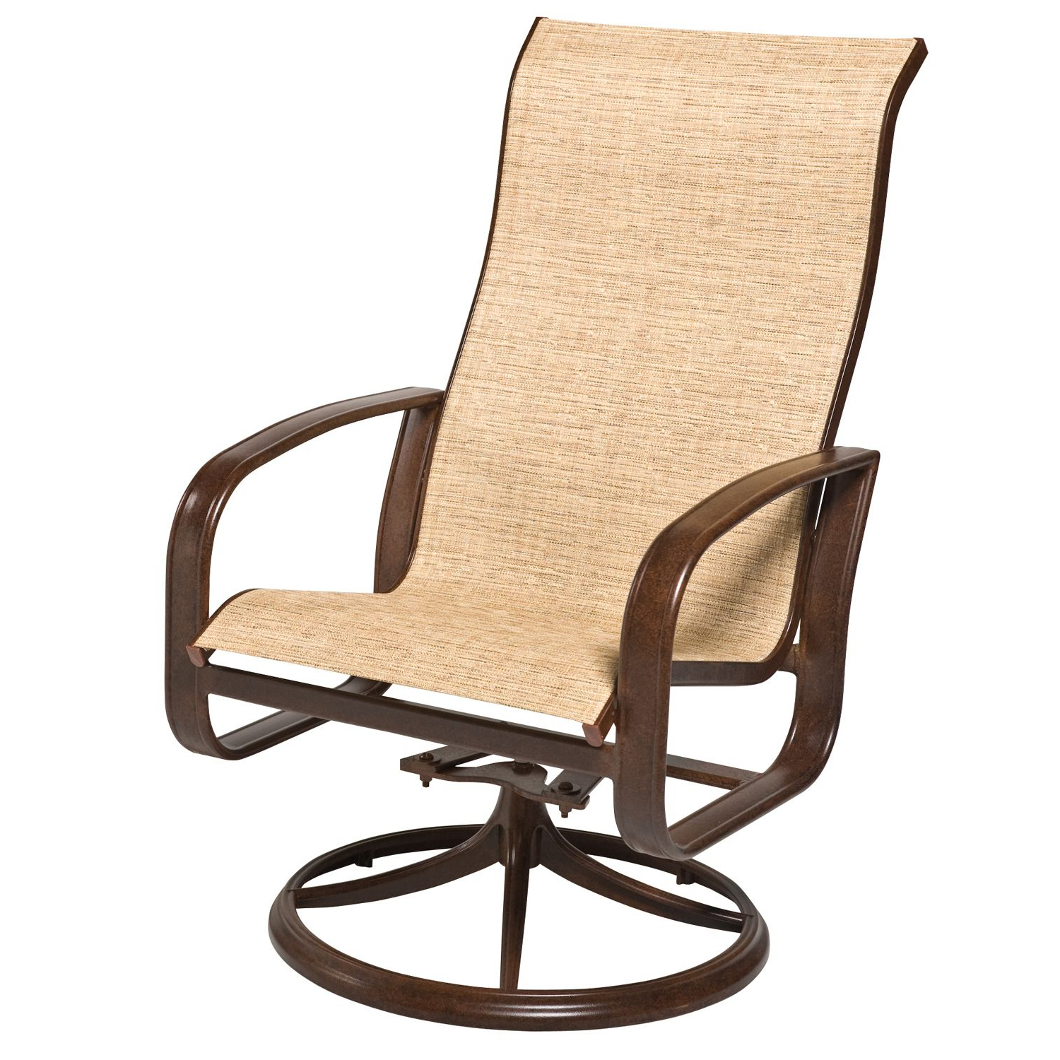 Sling High Back Swivel Chairs For Trendy Cayman Isle Padded Sling High Back Swivel Rocking Dining Armchair (View 5 of 30)