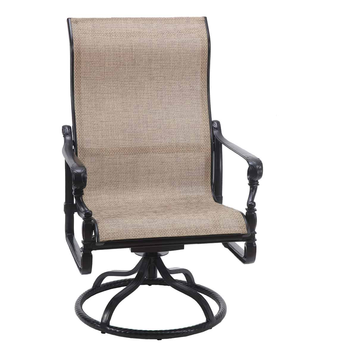 Sling High Back Swivel Chairs Inside Well Liked Grand Terrace Sling High Back Swivel Rocker Lounge Chair (View 16 of 30)