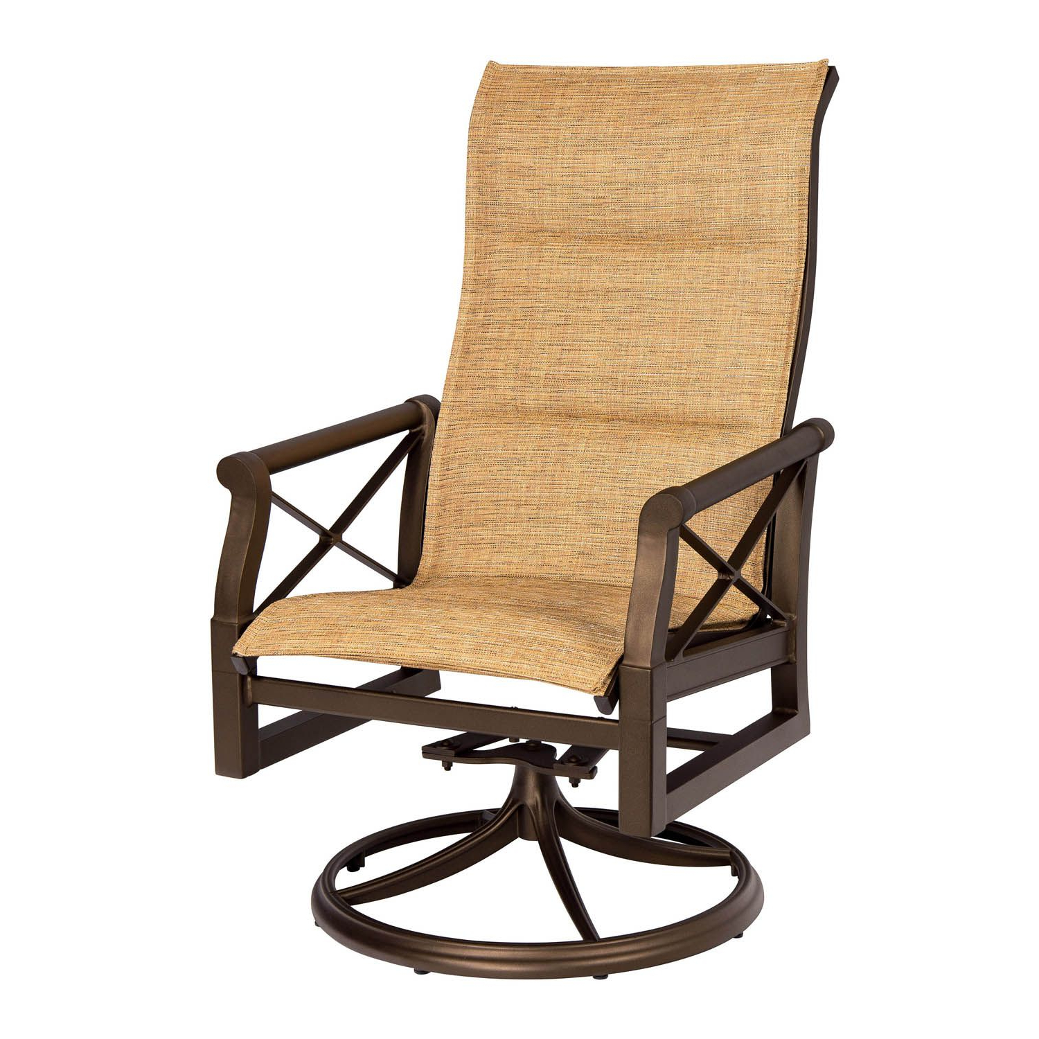 Sling High Back Swivel Chairs With Fashionable Andover Padded Sling High Back Swivel Rocking Dining Armchair (View 25 of 30)