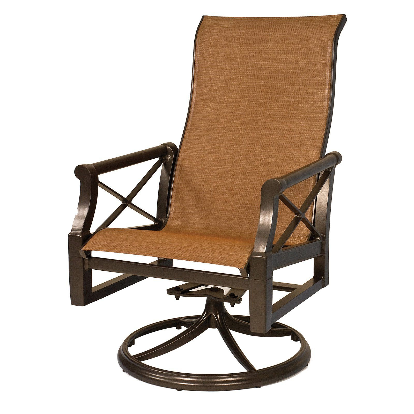 Sling High Back Swivel Chairs Within Most Up To Date Outdoor Woodard Andover Sling High Back Swivel Rocker Dining (View 9 of 30)
