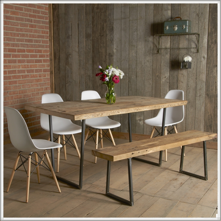 Small Rustic Look Dining Tables With 2017 Modern Small Industrial Dining Table Factory Style And Bench (View 14 of 30)