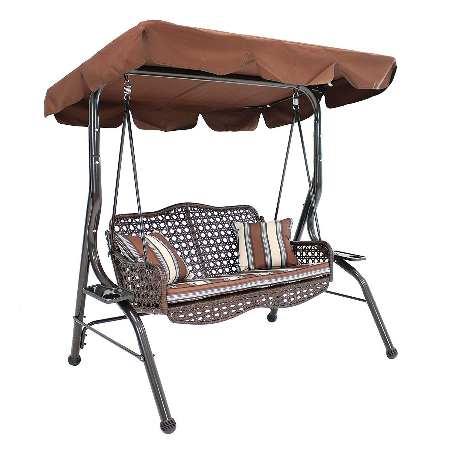 Sogeshome 2 Seat Porch Patio Swings Chairs Outdoor Lounge Chair Hammock With Canopy Brown, Rlqq2013 Br Sh Regarding Widely Used Patio Gazebo Porch Canopy Swings (View 29 of 30)