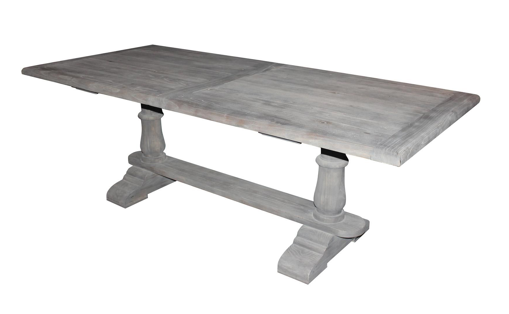 Solid Wood Dining Table With Gray Washed Out Finish Pertaining To Well Known Distressed Grey Finish Wood Classic Design Dining Tables (View 3 of 30)