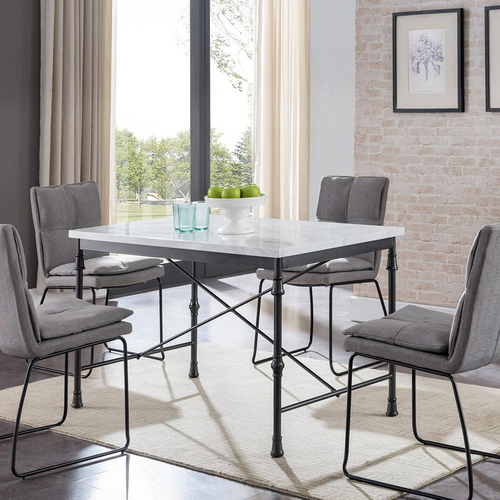 Southern Enterprises Sorent White Faux Marble Dining Table Throughout Trendy Faux Marble Finish Metal Contemporary Dining Tables (View 23 of 30)