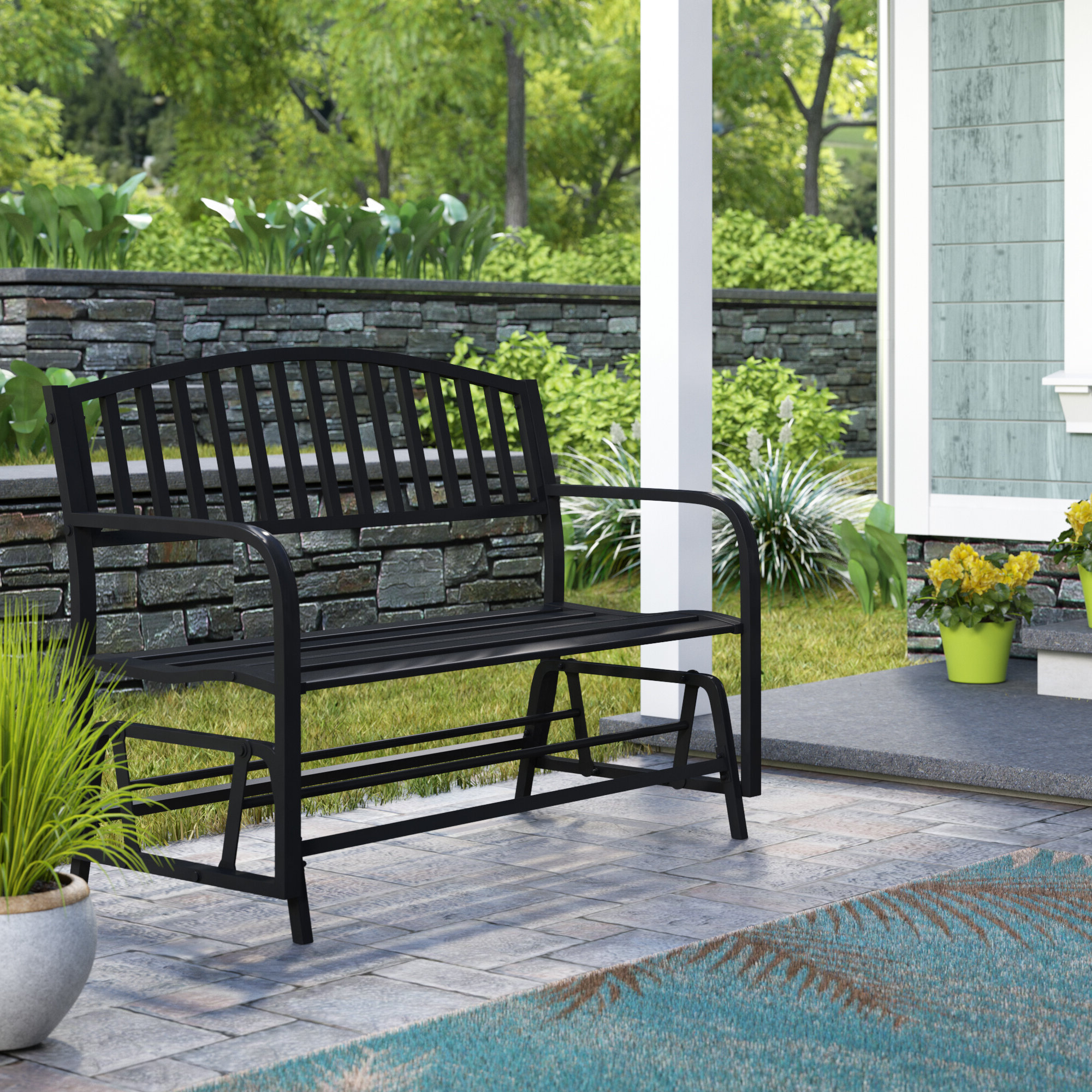 Speckled Glider Benches In Most Current Liv Outdoor Patio Glider Bench (View 18 of 30)