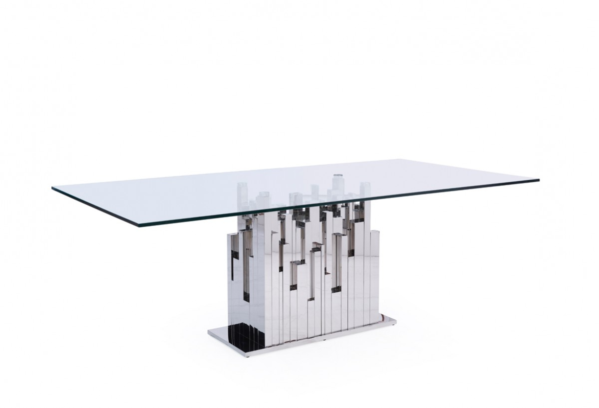 Steel And Glass Rectangle Dining Tables For Well Liked Modrest Edwin Modern Glass & Stainless Steel Dining Table (View 15 of 30)