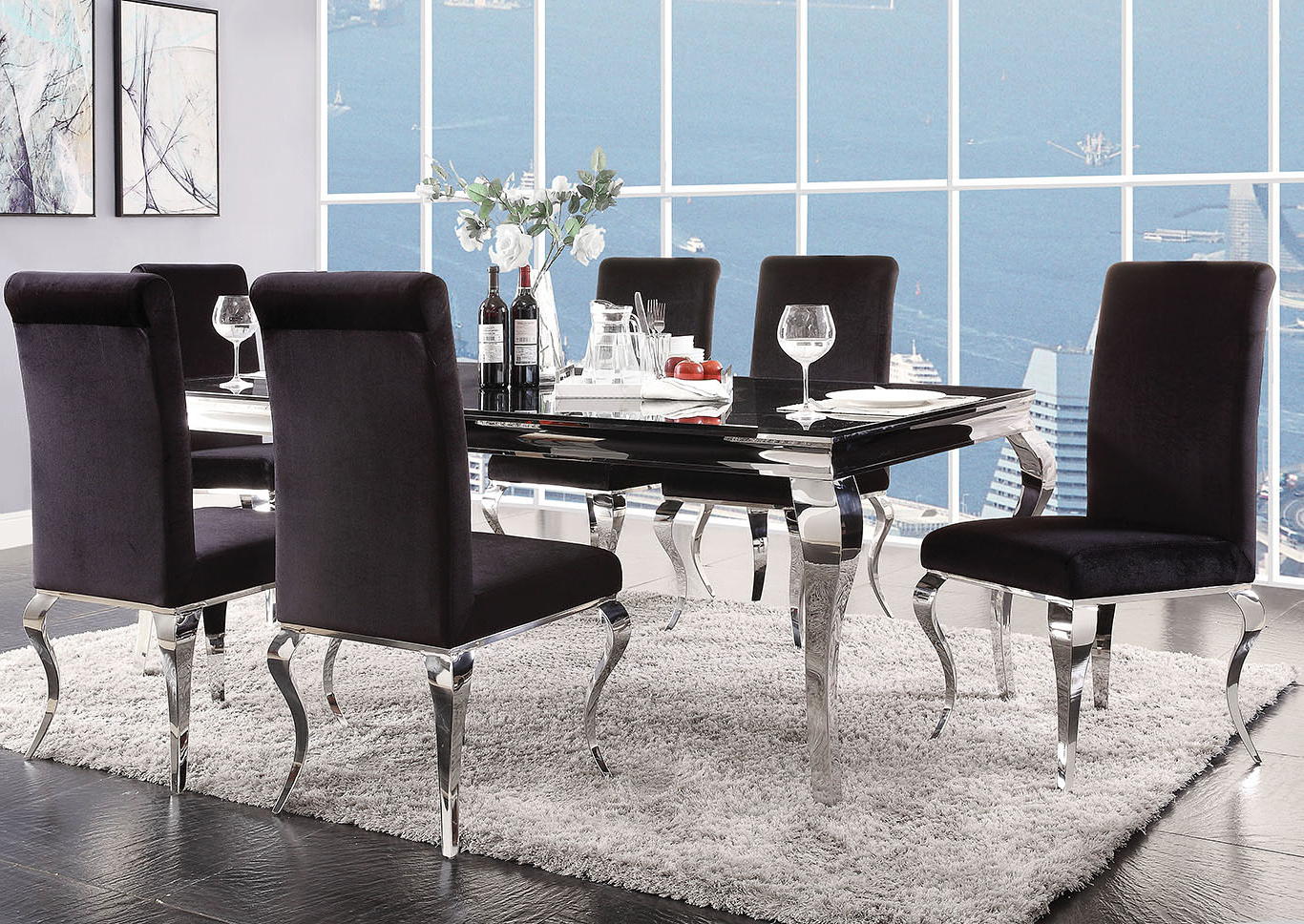 Steel And Glass Rectangle Dining Tables Intended For Favorite Goree's Furniture – Opelika, Al Fabiola Black Glass (View 13 of 30)