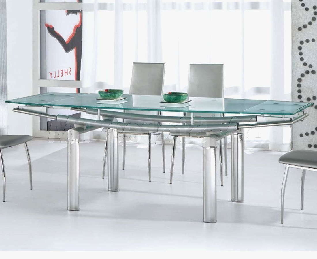 Featured Photo of Modern Glass Top Extension Dining Tables In Stainless