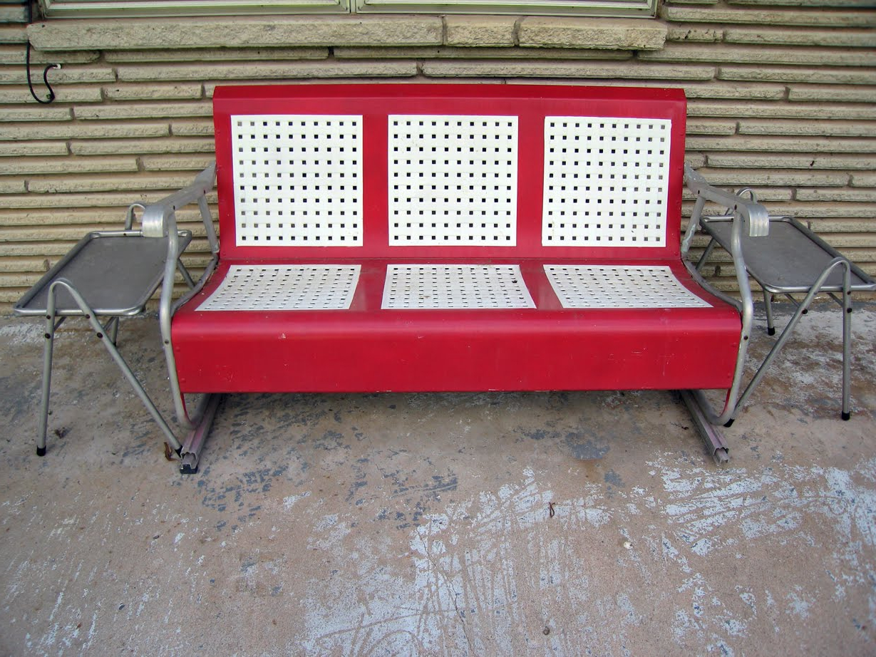 Steel Patio Swing Glider Benches Inside Recent Furniture: Metal Porch Glider In Red And White For Outdoor (View 22 of 30)