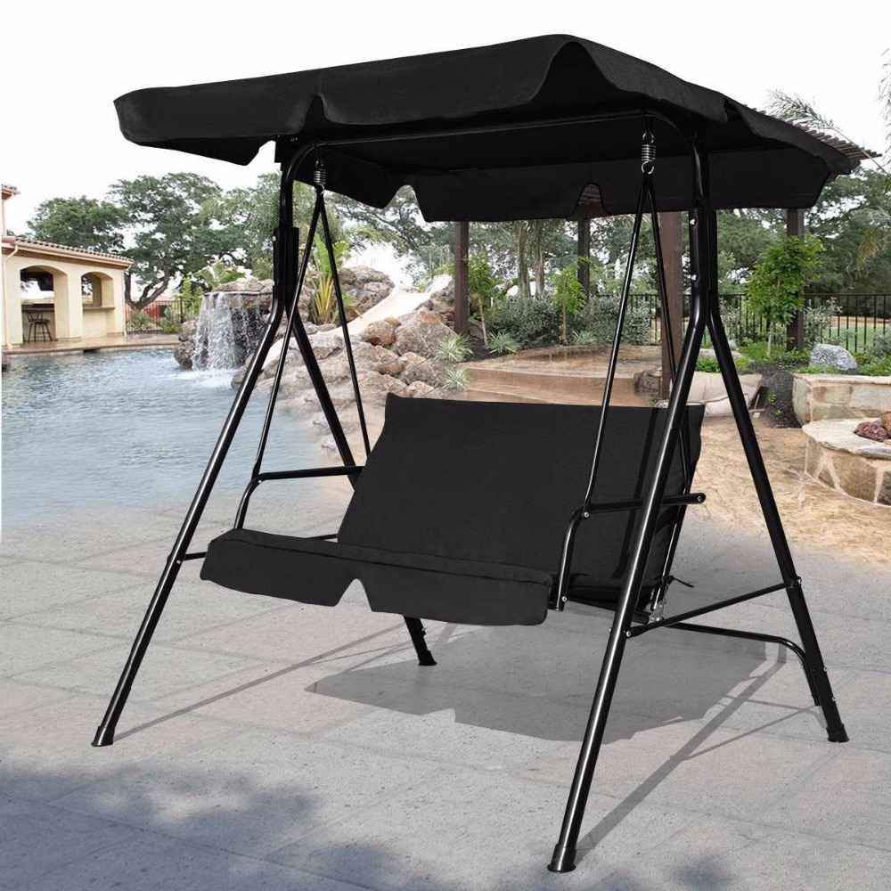 Steel Patio Swing Glider Benches Pertaining To Well Liked Goplus Loveseat Patio Canopy Swing Glider Hammock Cushioned (View 27 of 30)