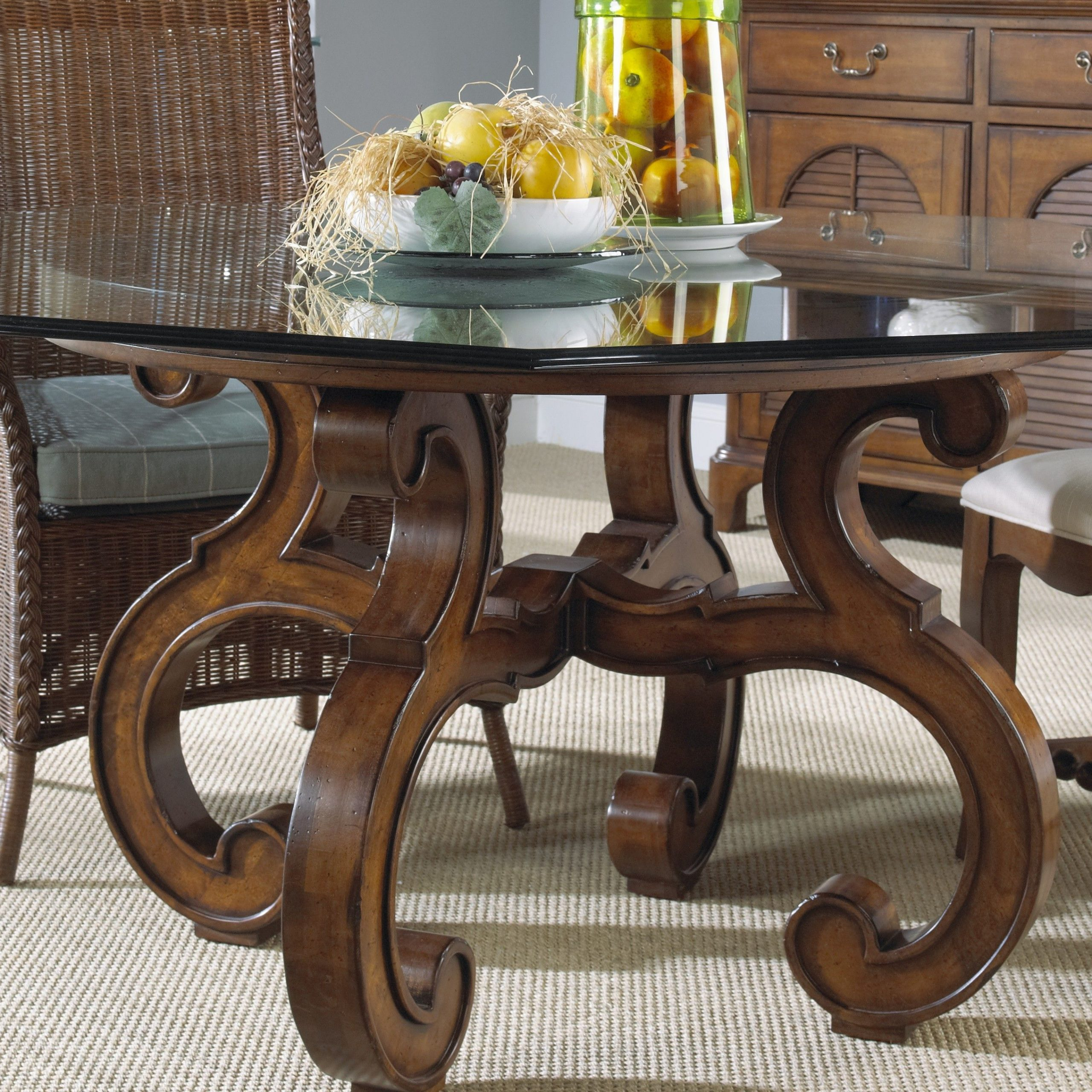 """Summer Home Round Dining Table Glass Top 60"""" (View 4 of 30)"""