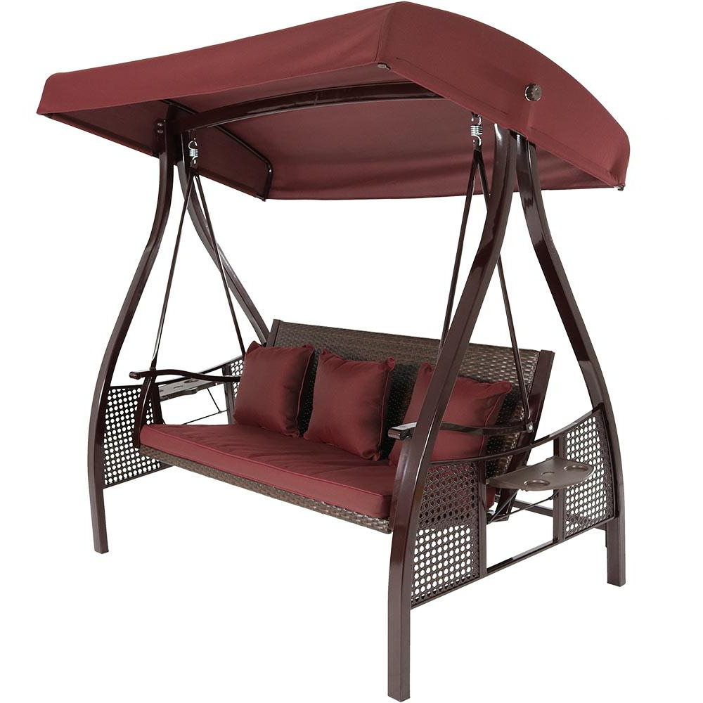 Sunnydaze Decor Deluxe Steel Frame Porch Swing With Maroon Cushion, Canopy And Side Tables Regarding Current Porch Swings With Canopy (View 15 of 30)