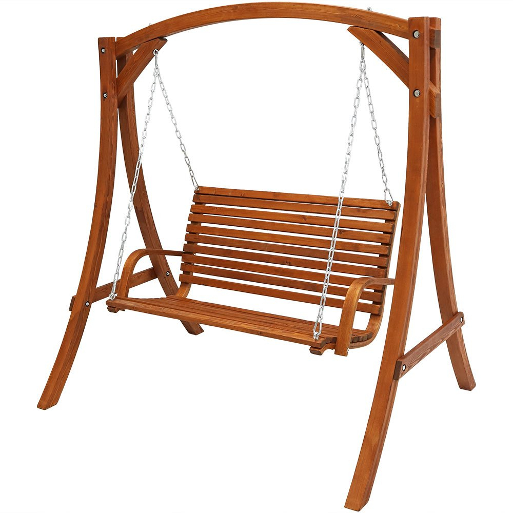 Sunnydaze Deluxe 2 Person Wooden Patio Swing For Outdoor Porch, Backyard Or Deck Pertaining To Latest 2 Person Natural Cedar Wood Outdoor Swings (View 26 of 30)