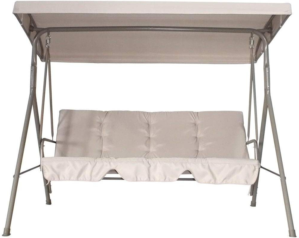 Sunshade Throughout 2 Person Outdoor Convertible Canopy Swing Gliders With Removable Cushions Beige (View 9 of 30)