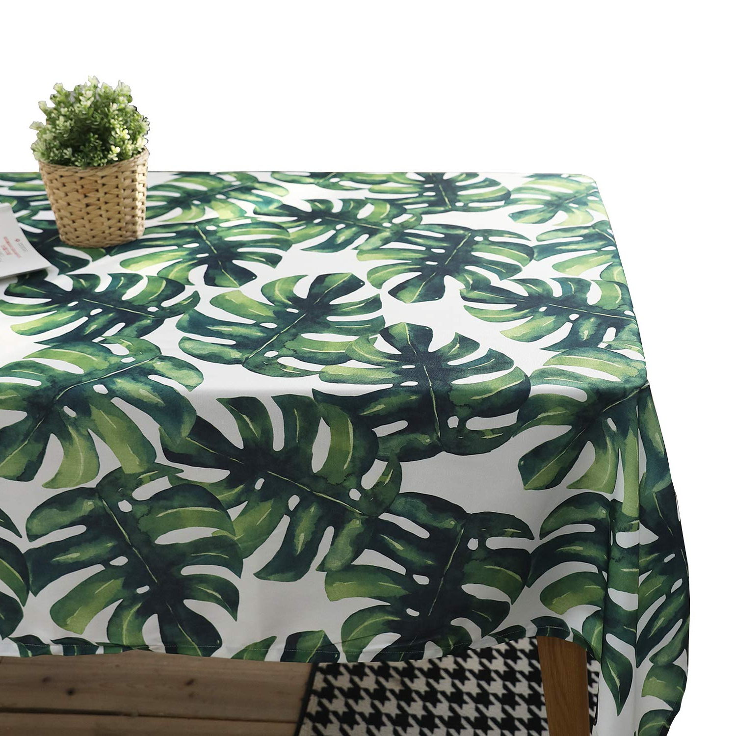 Tablecloth,jzy Waterproof Cotton Table Cover 55 X 55 Inches For Kitchen Dining Table Palm Leaf Table Linen For Square Or Round Table With Favorite Morris Round Dining Tables (View 22 of 30)