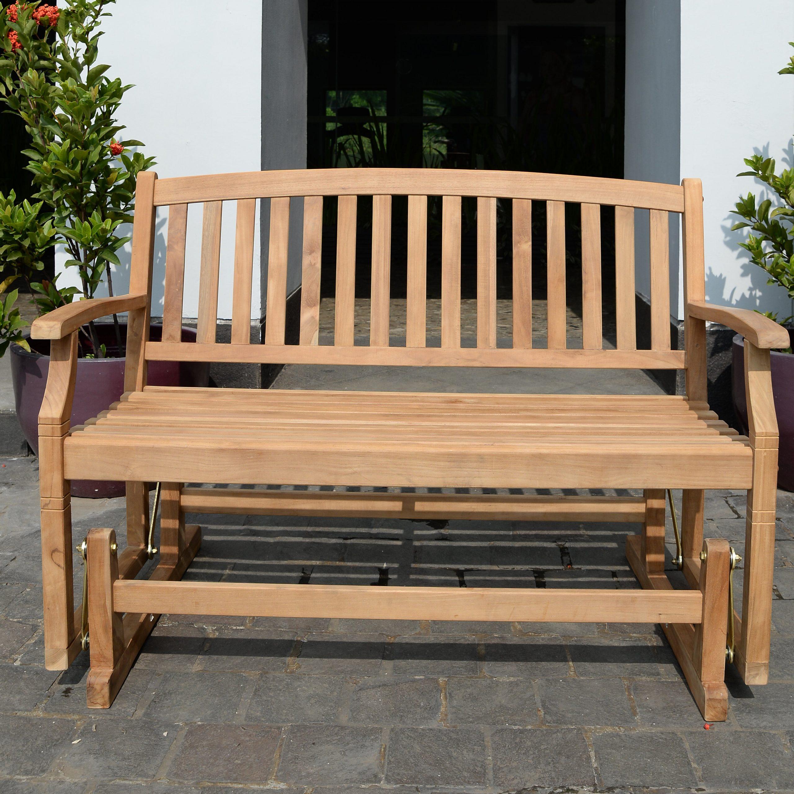 Teak Outdoor Glider Benches For Fashionable Summerton Teak Glider Bench (View 22 of 30)