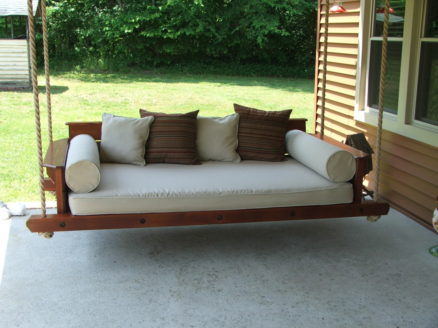 Teak Porch Swing With Rope Within Trendy Teak Porch Swings (View 6 of 30)