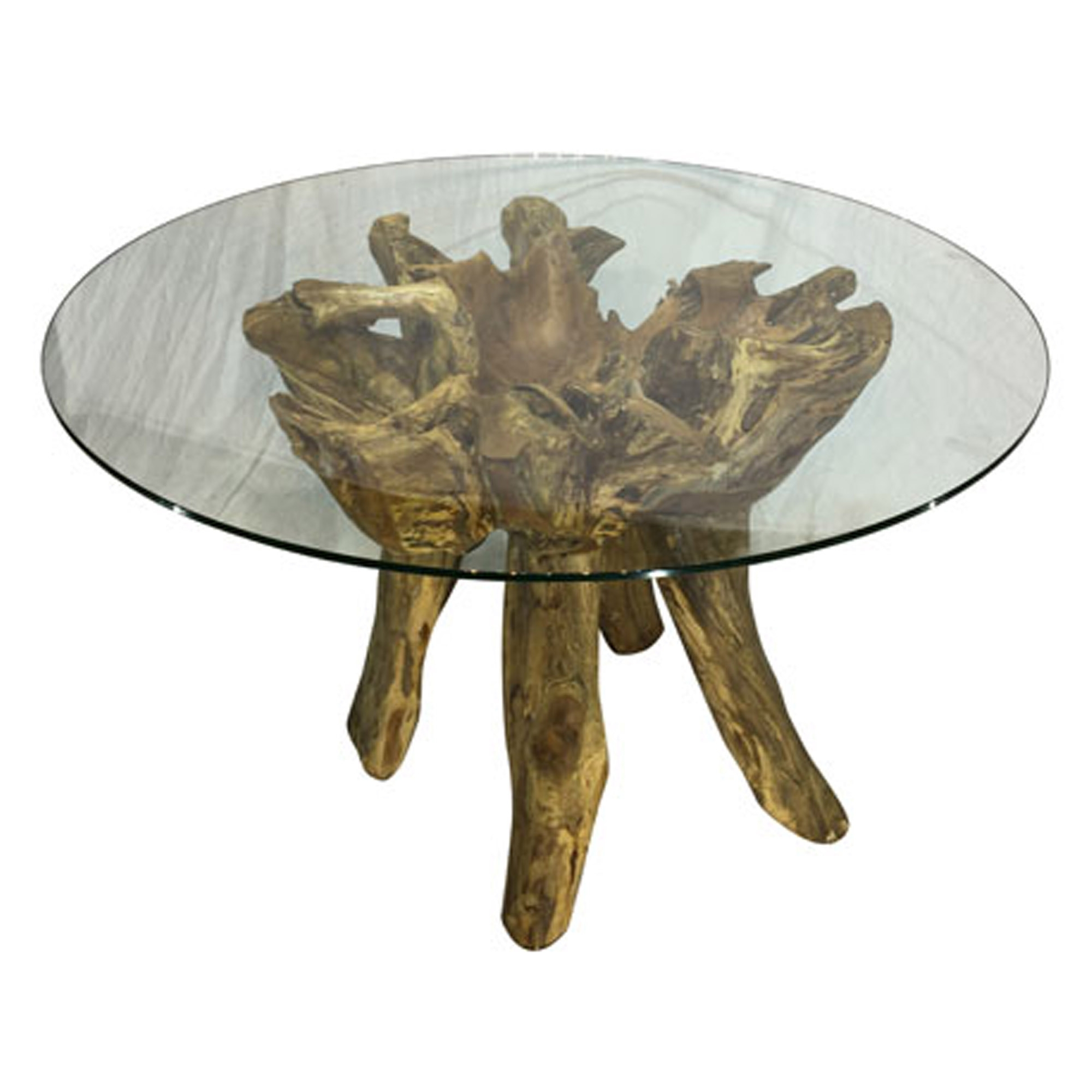 Teak Root Round Glass Dining Table Small Regarding Popular Small Rustic Look Dining Tables (View 16 of 30)