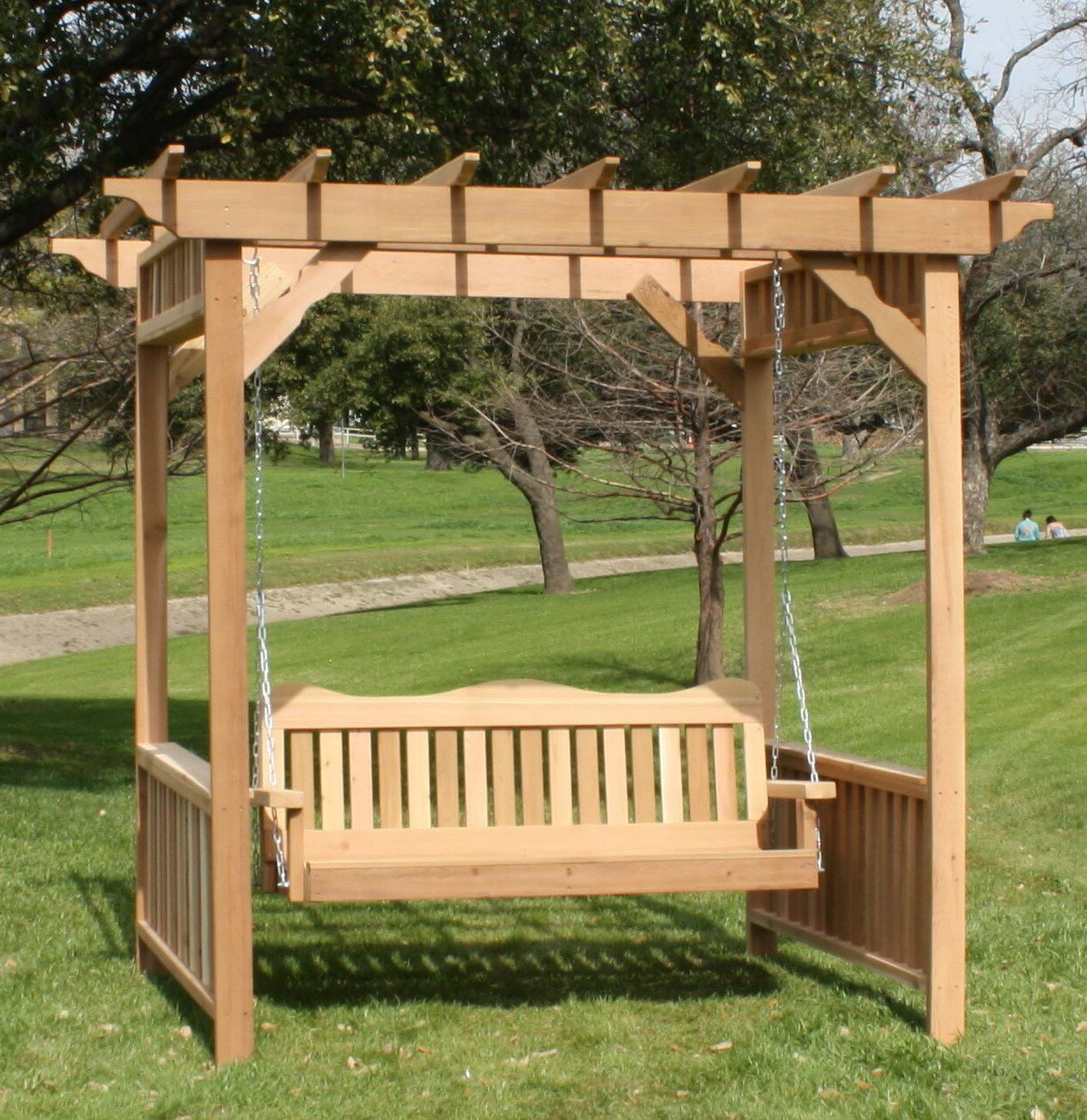 Thayer Cedar Arbor Porch Swing With Stand Intended For Trendy Pergola Porch Swings With Stand (View 23 of 30)