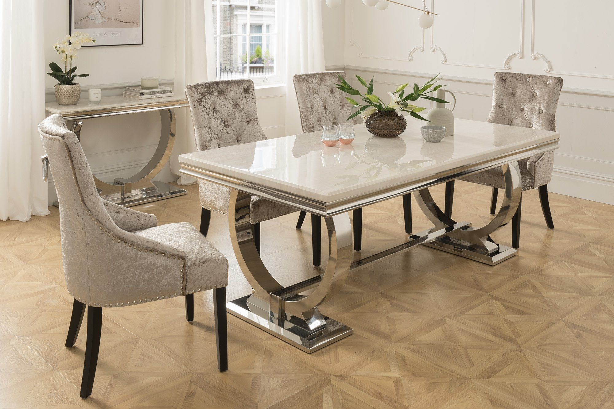 The Arabella 6 Seater Dining Set With 4 Or 6 Chairs In 2020 Regarding Latest 4 Seater Round Wooden Dining Tables With Chrome Legs (Gallery 9 of 30)