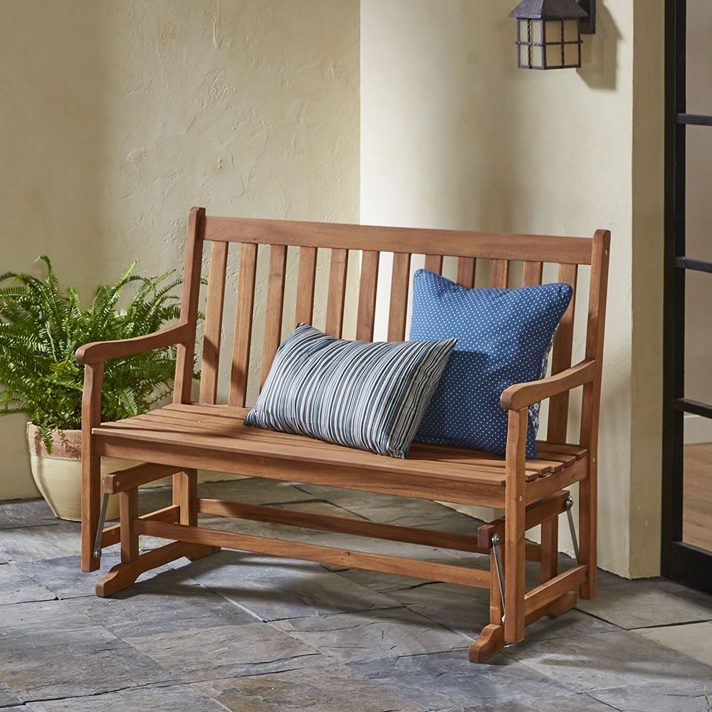 The Classic Acacia Glider Bench – Hammacher Schlemmer Within Well Known Classic Glider Benches (View 5 of 30)