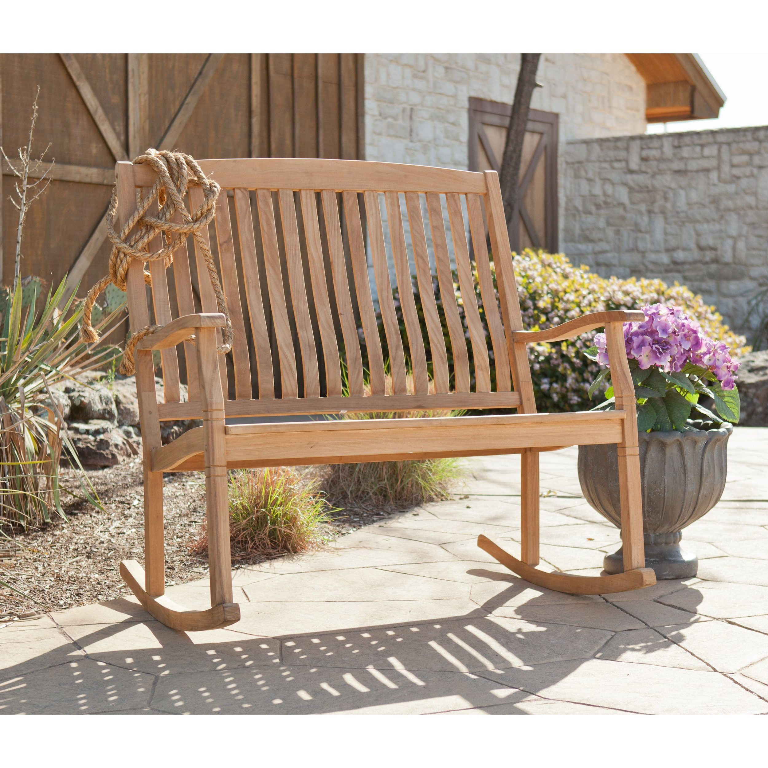 The Graceful Yet Rustic Style Of This Teak Glider Bench Is Intended For Trendy Teak Outdoor Glider Benches (View 2 of 30)
