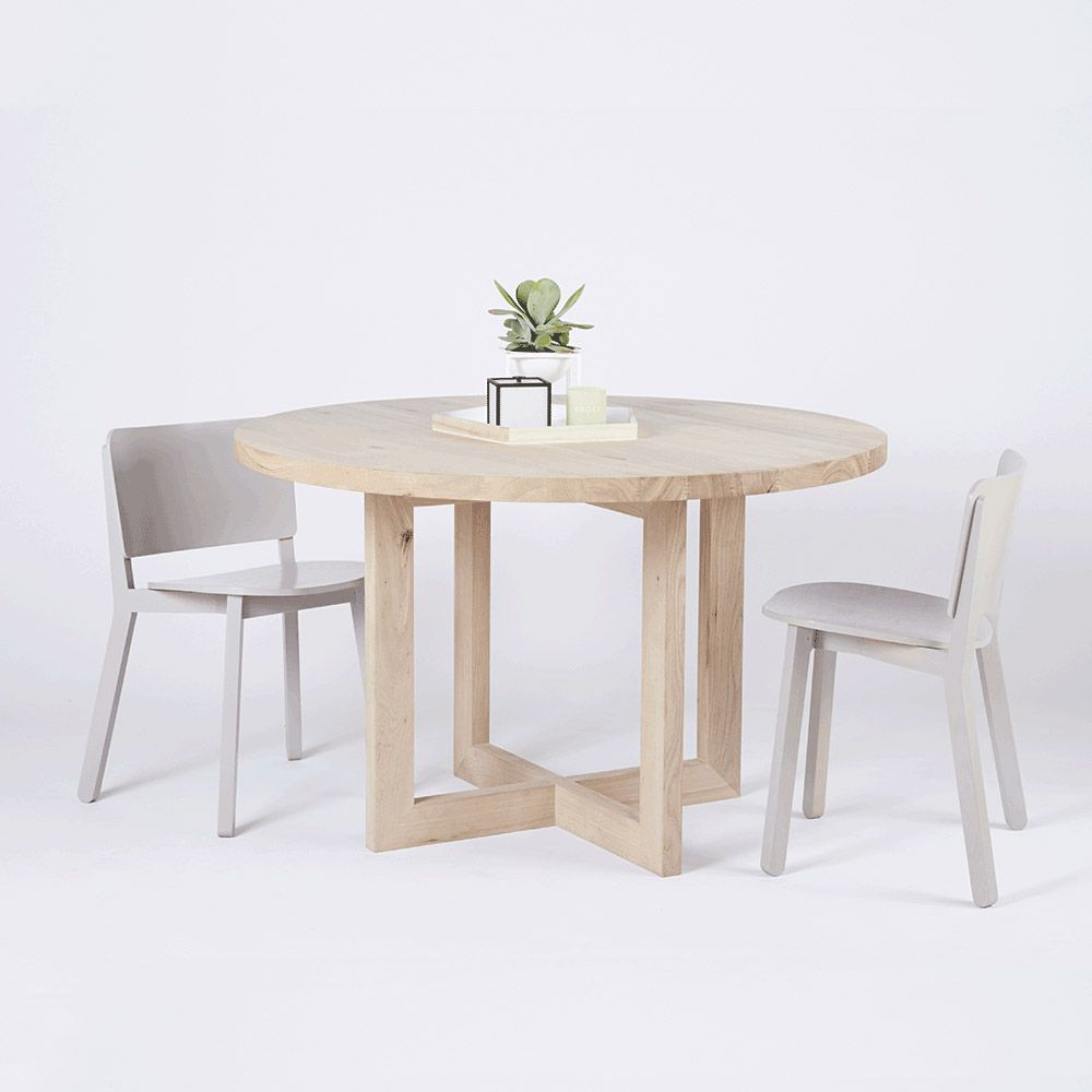 This Modern Designer Bondi Round Oak Dining Table Is Crafted In Most Recently Released Solid Wood Circular Dining Tables White (View 8 of 30)