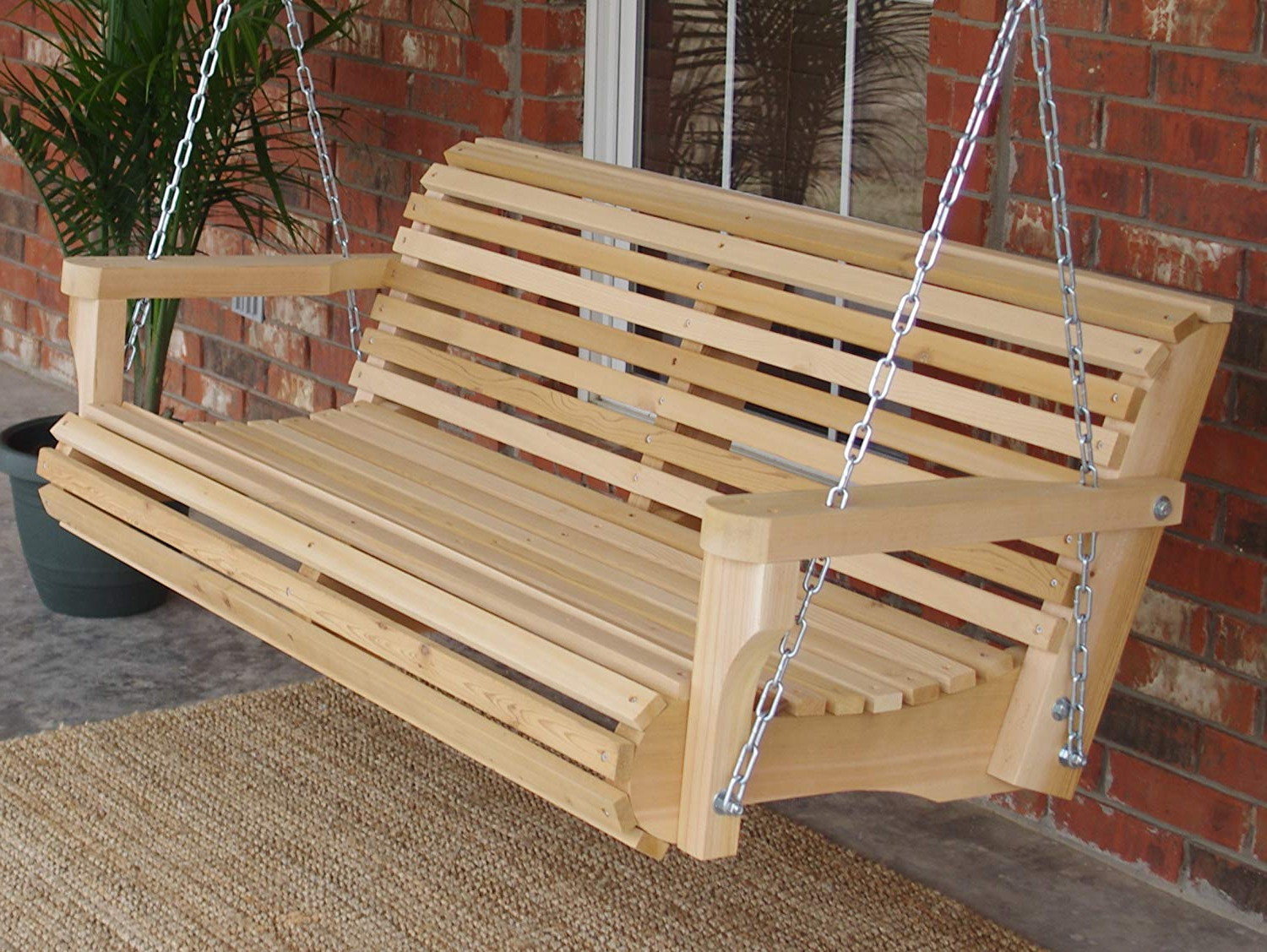 Three Man Contoured Classic Cedar Porch Swing With Hanging Chain – 6 Foot  Natural In 2020 Contoured Classic Porch Swings (Gallery 2 of 30)
