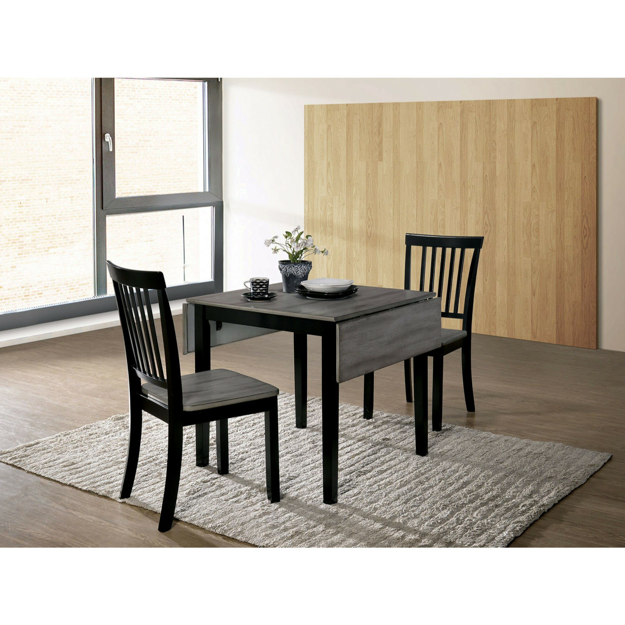 Transitional 3 Piece Drop Leaf Casual Dining Tables Set With 2018 Maone Transitional 3 Piece Drop Leaf Solid Wood Dining Set (View 24 of 30)