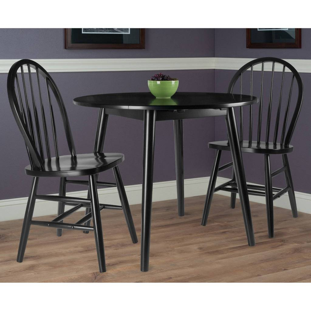 Transitional 3 Piece Drop Leaf Casual Dining Tables Set With Regard To Widely Used Moreno 3 Pc Set Drop Leaf Table With Chairs, Black Finish (View 26 of 30)