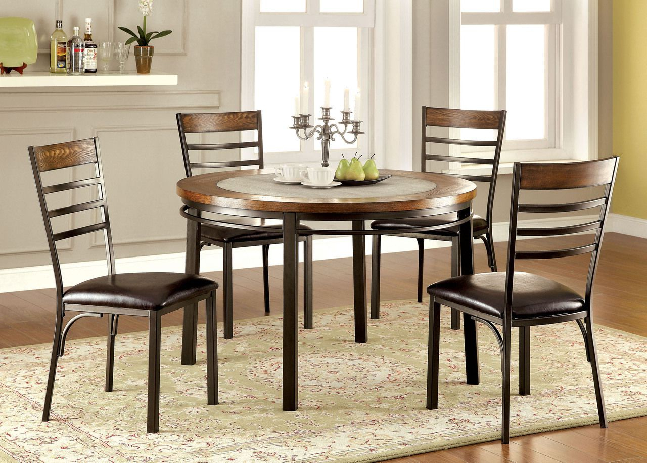 Transitional 4 Seating Double Drop Leaf Casual Dining Tables In Popular Riley Round Wood Stone Insert Dining Table Set (Gallery 9 of 30)