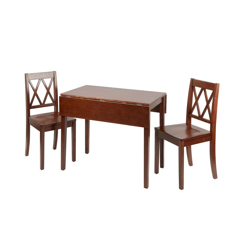 Transitional 4 Seating Drop Leaf Casual Dining Tables With Trendy Maisel 3 Piece Brown Wood Drop Leaf Dining Set (Gallery 16 of 30)