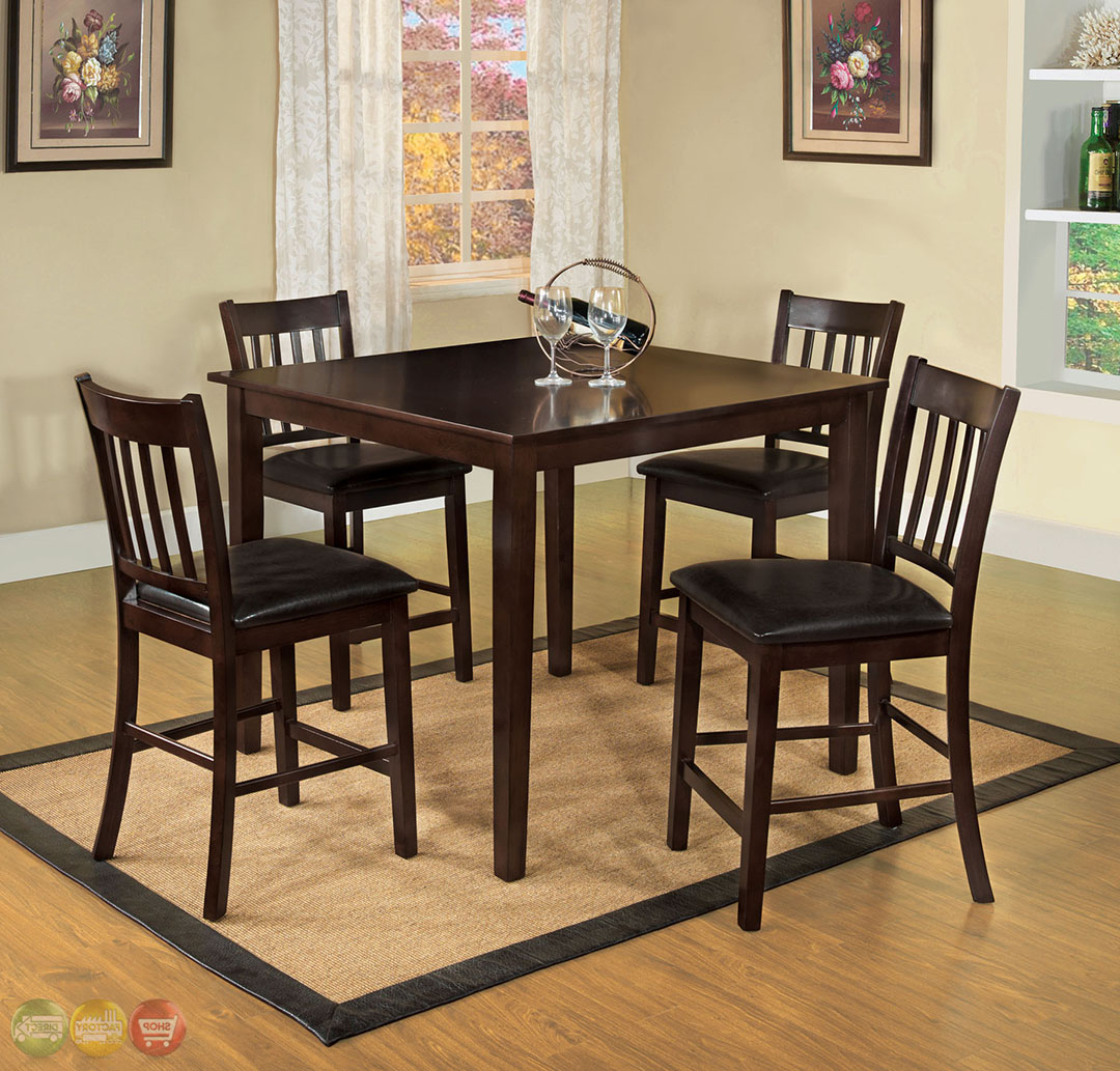 "Transitional 4 Seating Square Casual Dining Tables Pertaining To 2018 Details About Southvale Ii Transitional 48"" Counter Height Dining Set In  Espresso Brown Finish (View 24 of 30)"