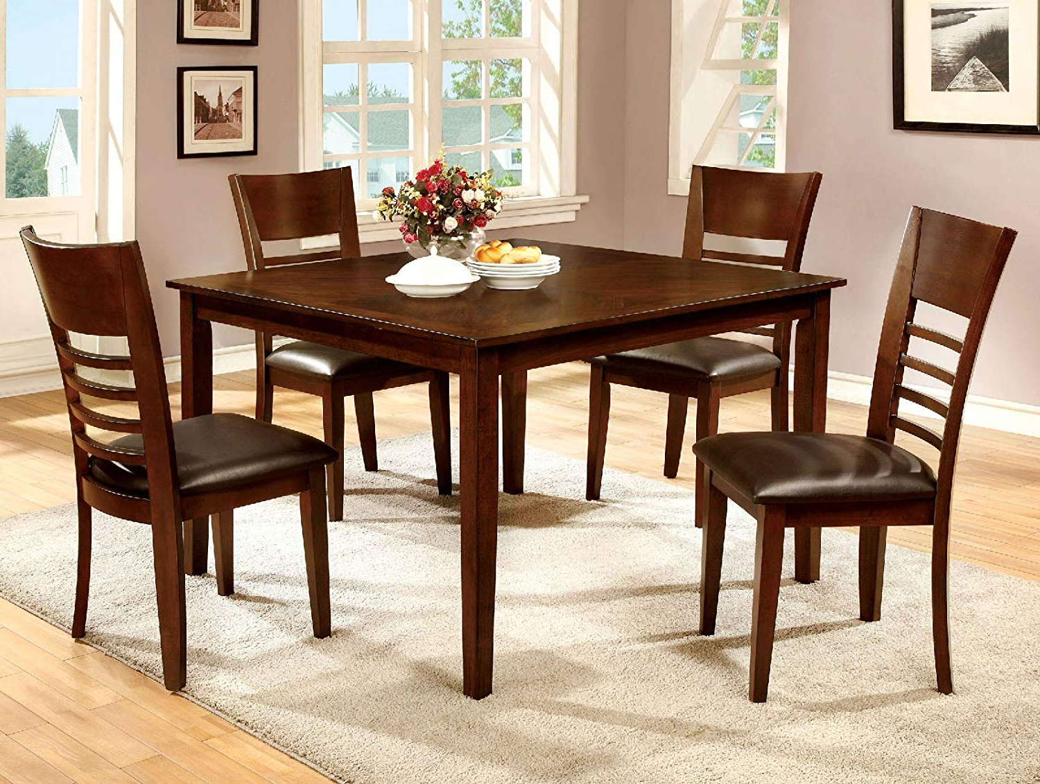Transitional 4 Seating Square Casual Dining Tables With Most Current Amazon – 1Perfectchoice Simple Relax Hillsview 5Pc (View 26 of 30)