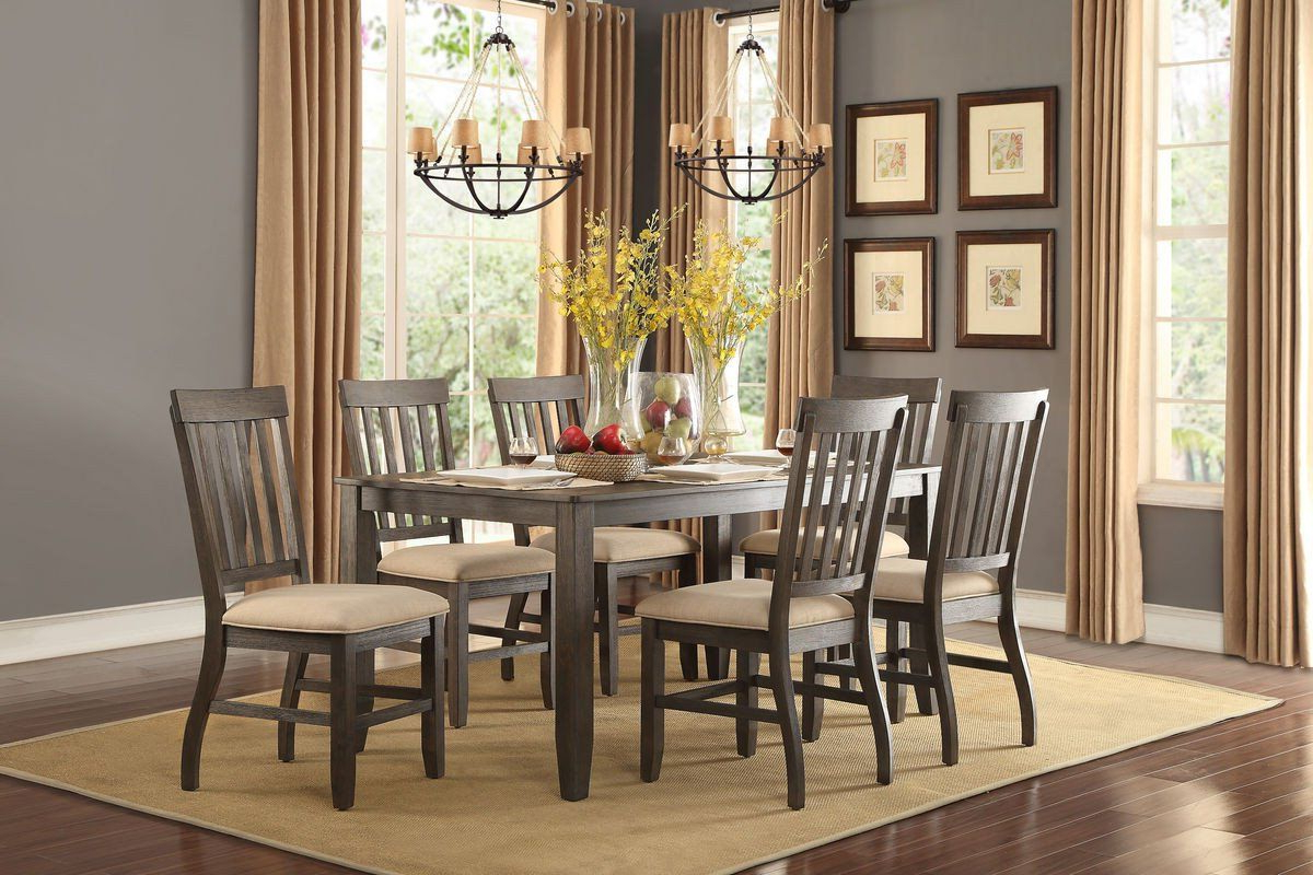 Transitional 6 Seating Casual Dining Tables Throughout Famous Nantes 7Pcs Dining Set 5423 For $692 (Dining Table,6 Side (Gallery 2 of 30)