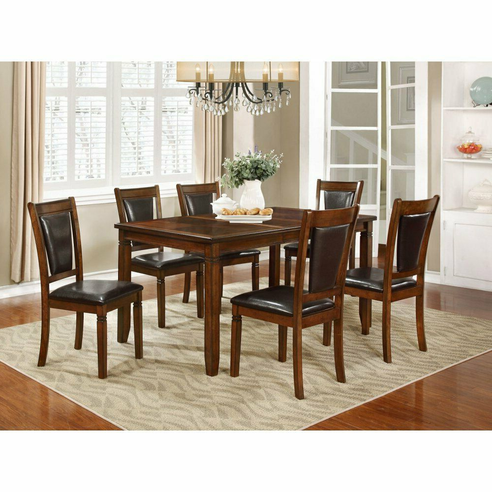 Transitional 6 Seating Casual Dining Tables Within Trendy Nh Designs 7 Piece Formal Transitional Dining Table Set (View 9 of 30)