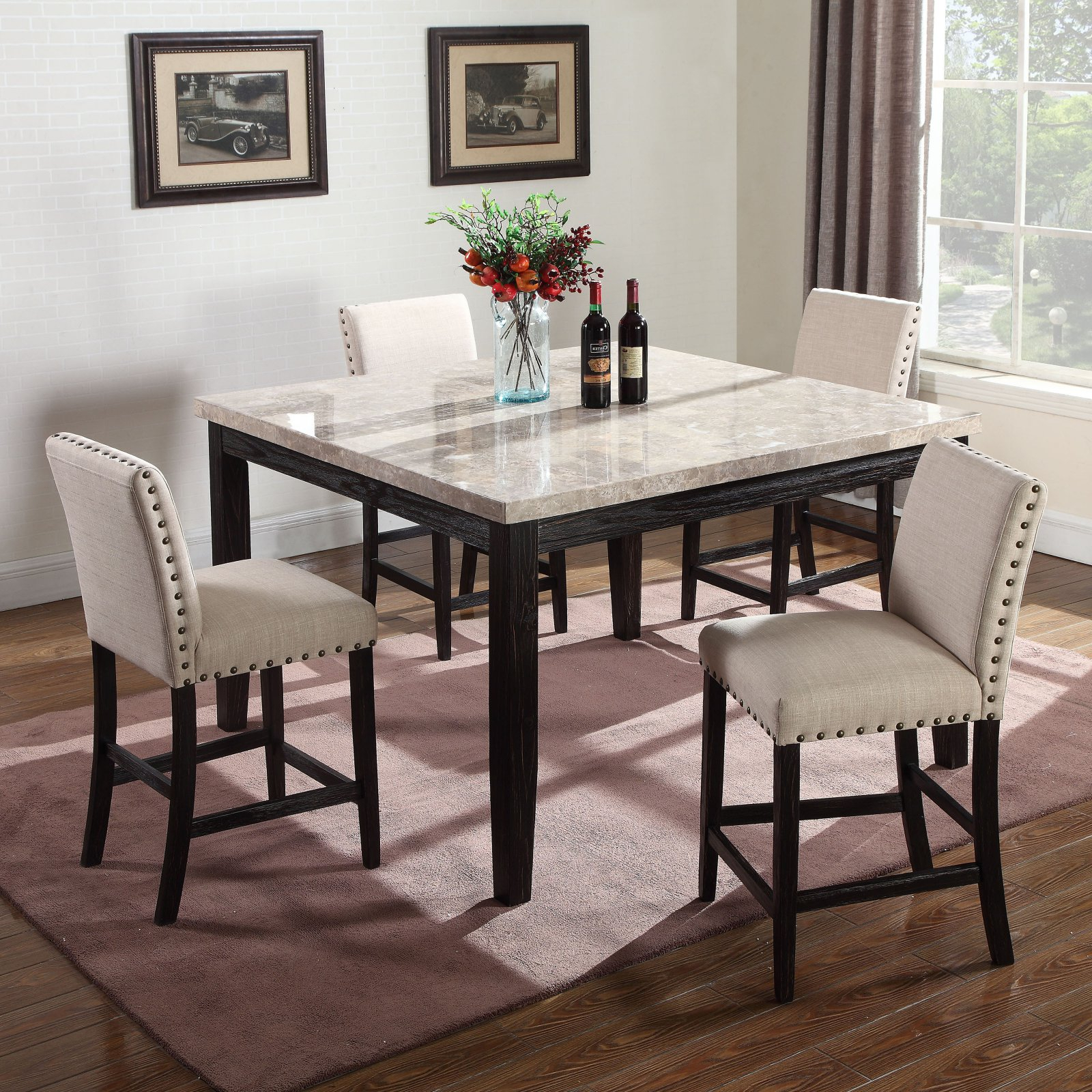 Transitional Antique Walnut Square Casual Dining Tables With Regard To Popular Best Master Furniture Celeste Square 5 Piece Faux Marble (View 7 of 30)
