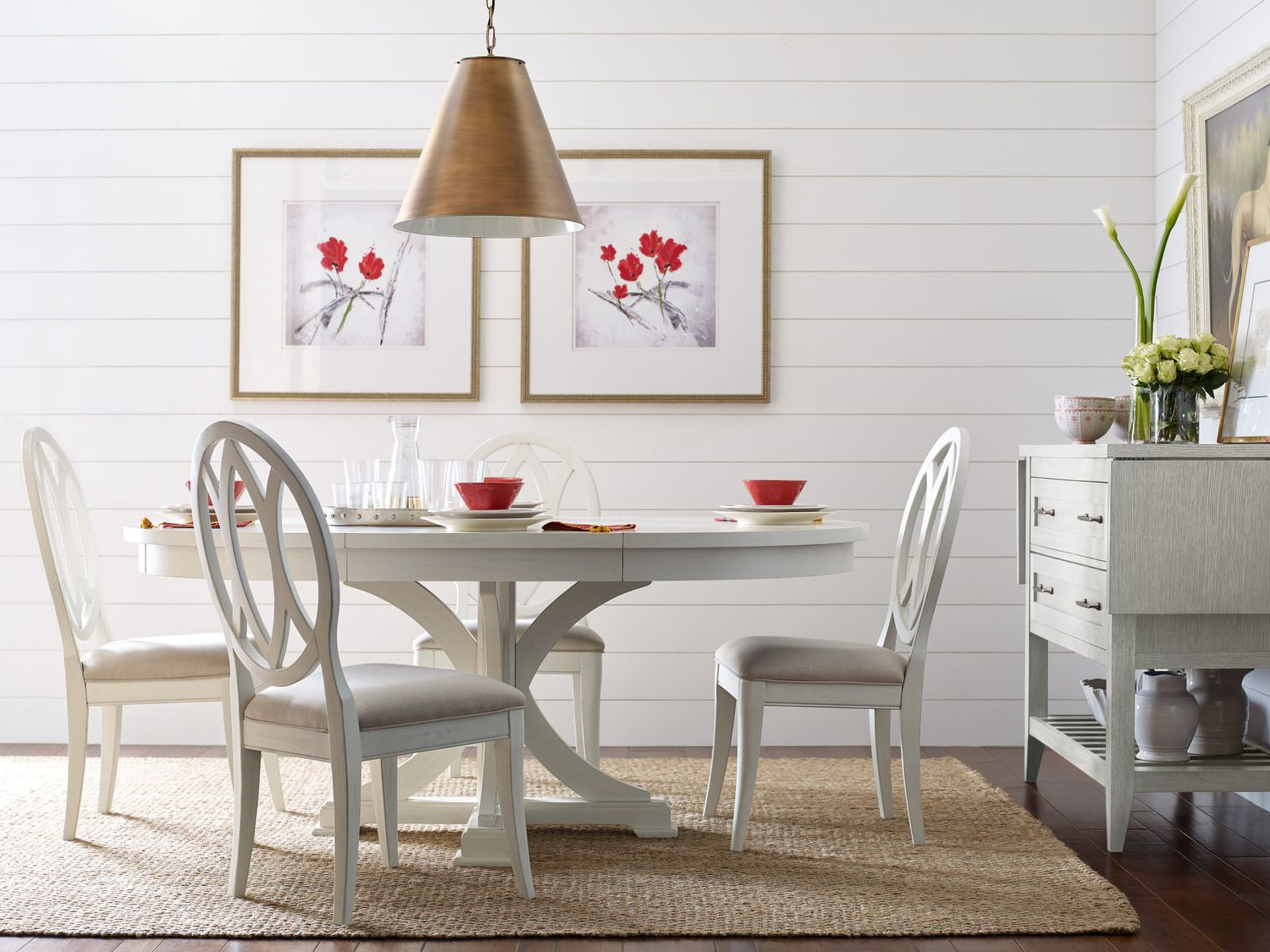 Transitional Drop Leaf Casual Dining Tables Throughout Most Recently Released Round Table And 4 Sea Salt Oval Back Dining Chairs (View 23 of 30)