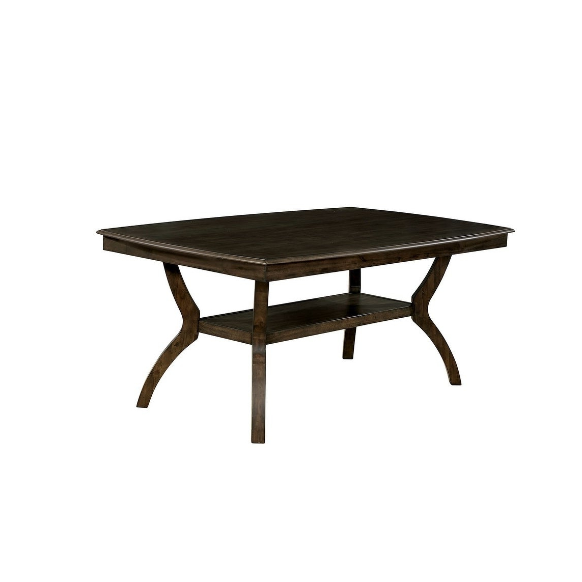 Transitional Style Solid Wood Rectangular Dining Table With Flowing Leg Base Design , Brown With Most Current Transitional Rectangular Dining Tables (View 10 of 30)
