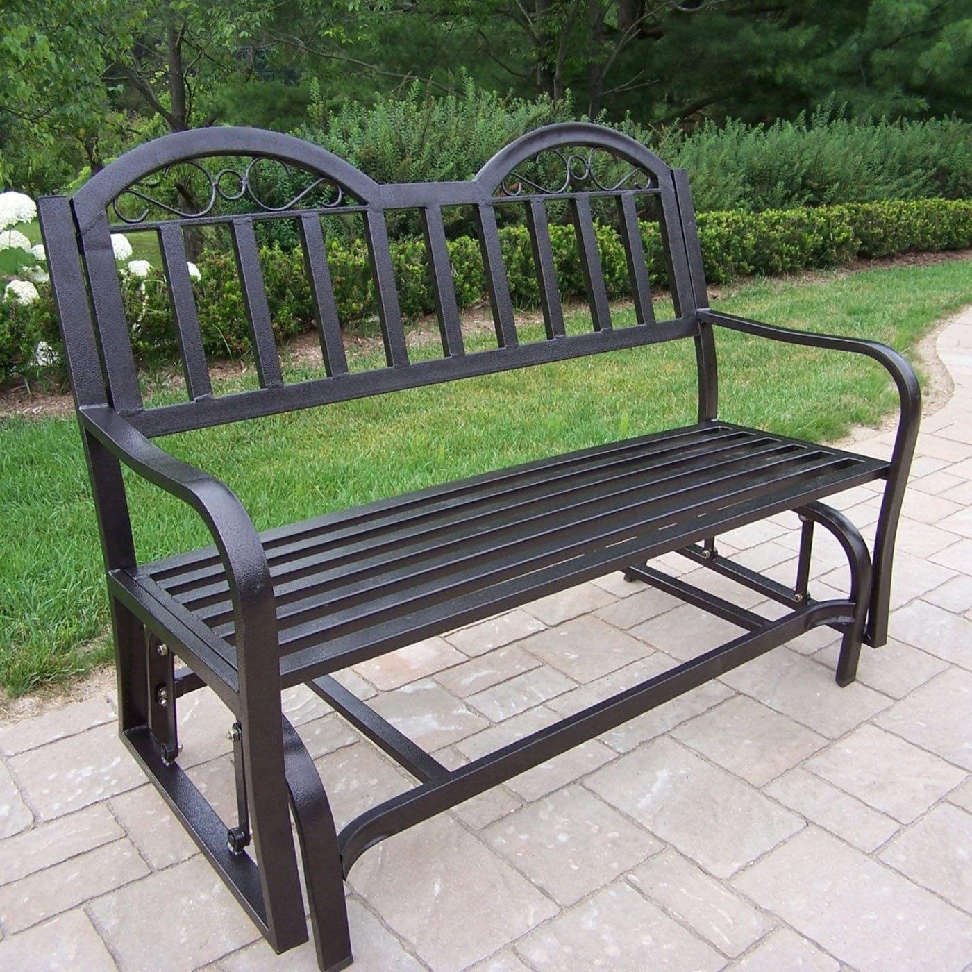 Trendy 2 Person Antique Black Iron Outdoor Gliders Regarding Outdoor Glider Bench Metal : Outdoor Decorations – What Is (View 21 of 30)