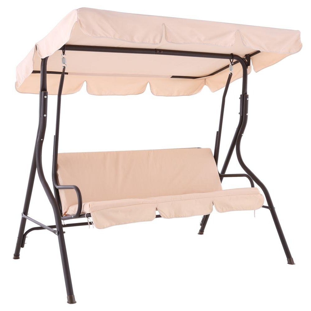 Trendy 2 Person Black Steel Outdoor Swings Inside Sunjoy Camo 2 Person Black Metal Porch Swing With Beige Canopy (View 24 of 30)
